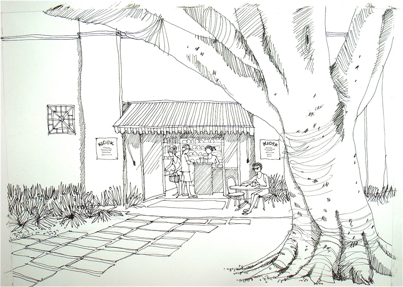 Line Drawing From Photo : Kiosk line watercolour in progress