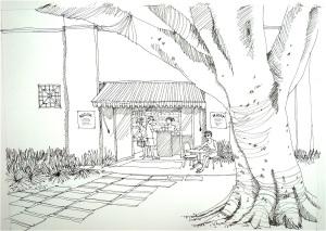 Kiosk, Line drawing