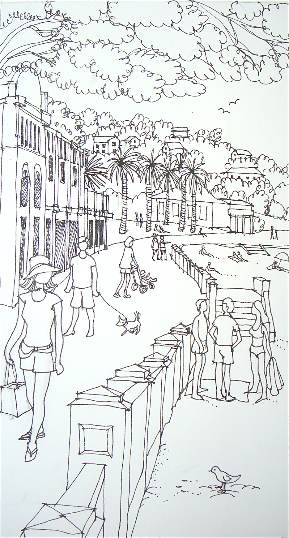 The Line Art : Line watercolour on the esplanade