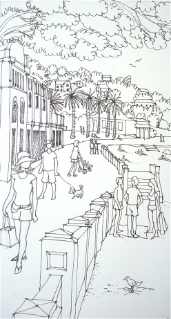 Line drawing - On the Esplanade