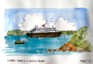 Queen Mary2 & Manly Ferry
