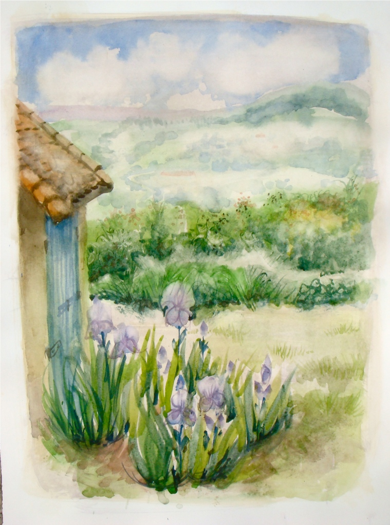 Irises and Country France