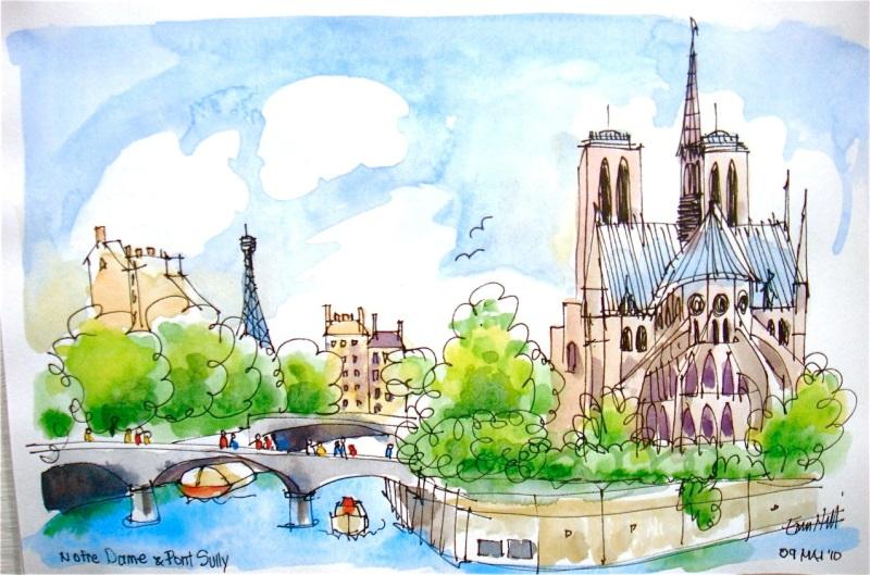 Notre Dame and Seine. Paris