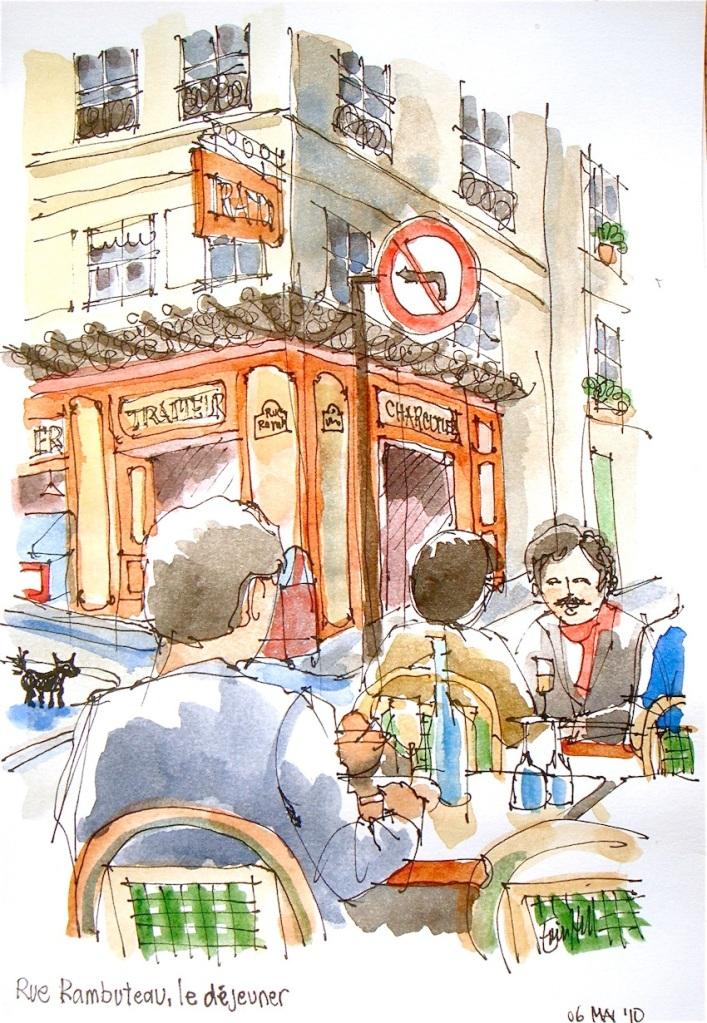 Rue Rambuteau, le dejeuner