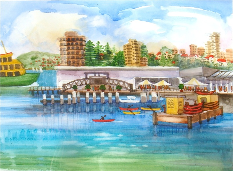 Kayaks At Manly Cove - Watercolour