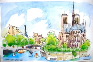 Eiffel, Notre Dame and the Seine