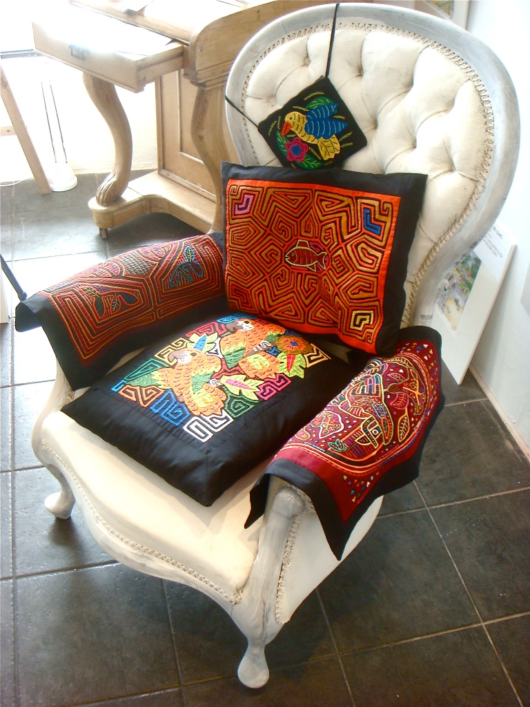 Old Chair with Kuna Indian hand embroidery