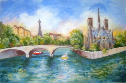 Completed 'On the Seine' Acrylic