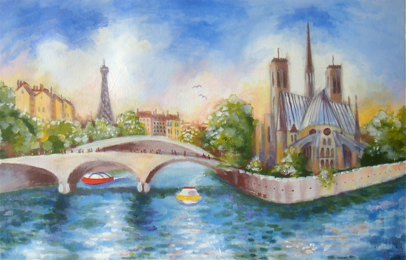 Eiffel, Notre Dame & Seine - Acrylic on Paper