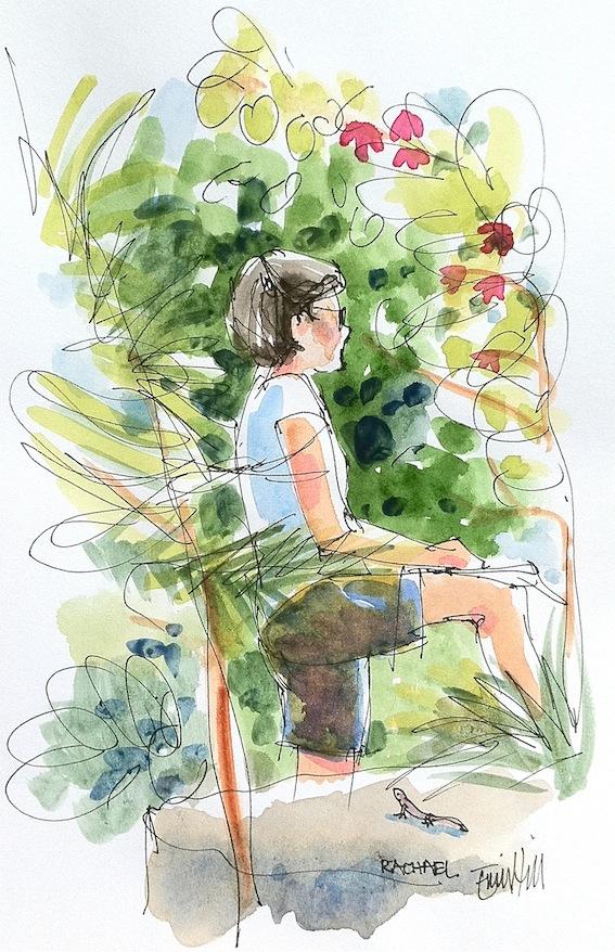 Rachael Sketching Magnolias