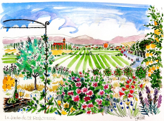 French sketches south of france erin hill sketching for Au saint roch hotel jardin