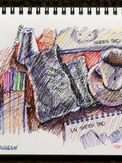 Coloured pen sketch