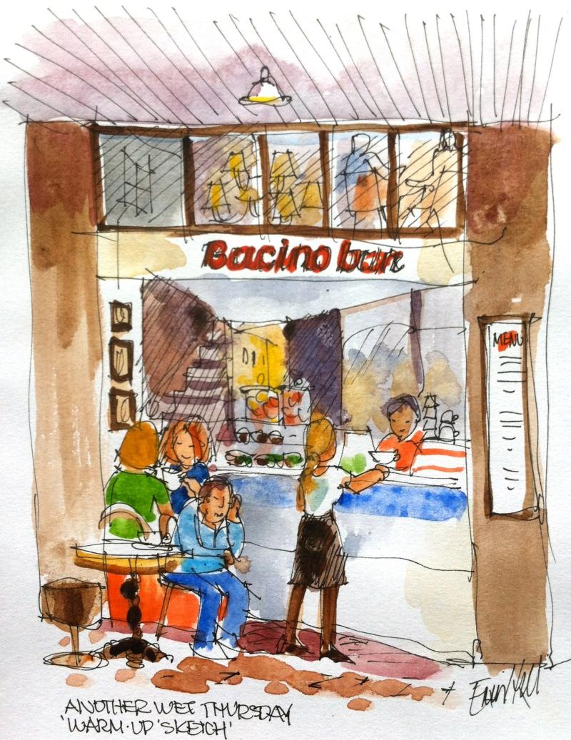 Warm up sketch at Bacino bar