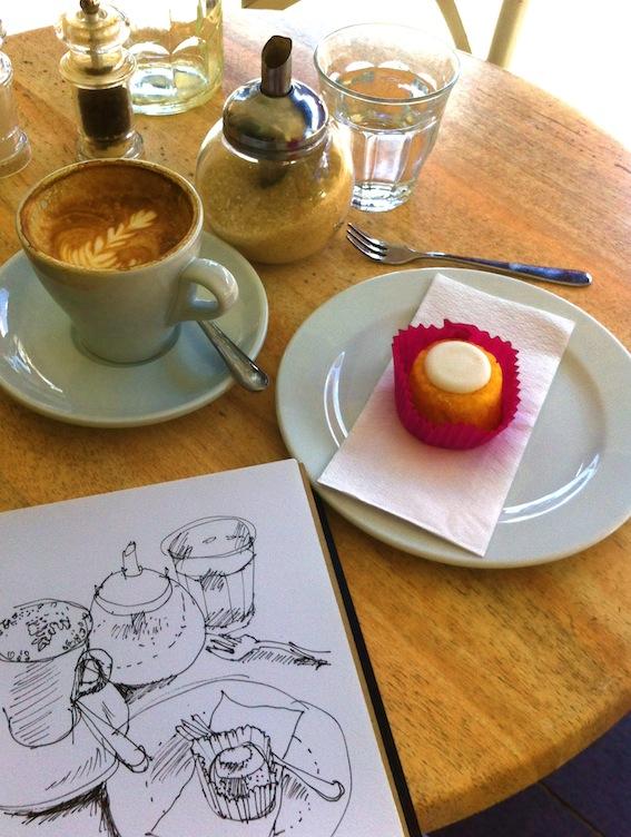 A tiny lemon polenta cake with coffee.