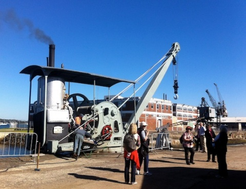 Firing up the restored steam Crane