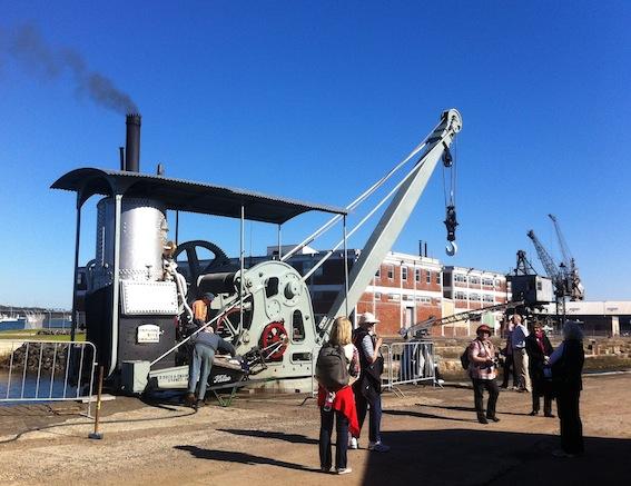 Firing up the restored steam Crane