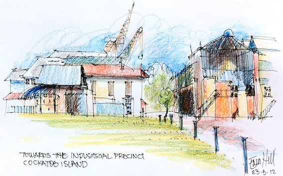 Looking from the cafe to the Industrial precinct