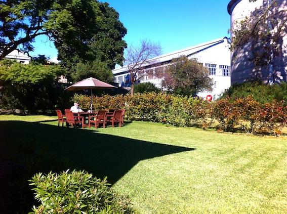 Milton taking breakfast on the lawn