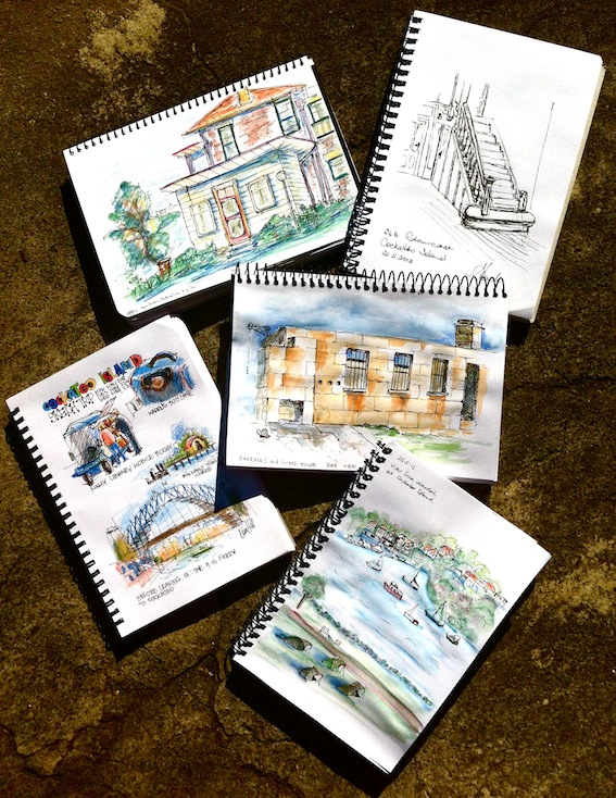 Selected sketches-Jenny, our house, Elaine, inside staircase, Karen, Guardhouse, Therese, far view with foreground tents.