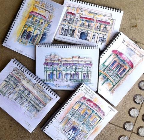 Sketches of Victorian Terrace. Top  Karen, Julie, Jenny, Jacquie, Ethna, Elaine