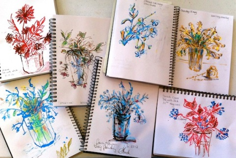 Twig sketches with Ink