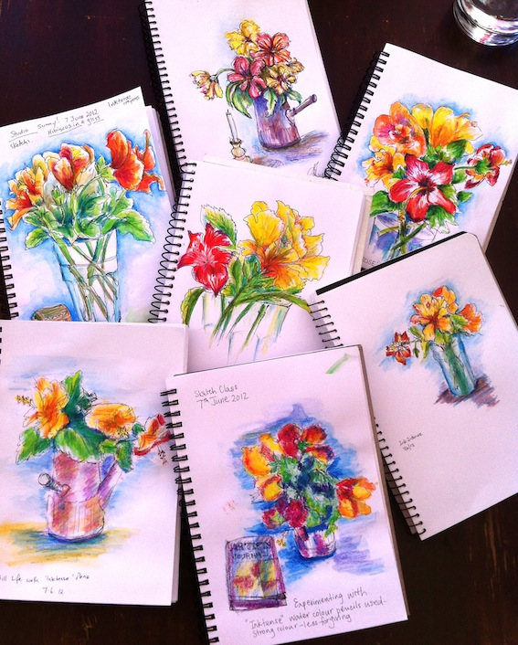 Line sketches with Inktense pencils & water