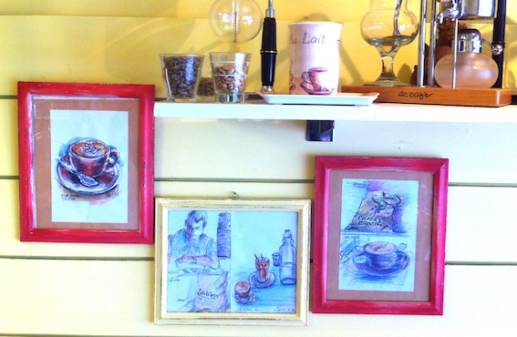 The first of our Cafe la Bas sketches on display