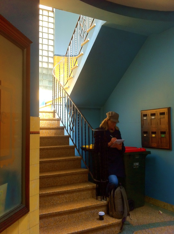 Julie at the staircase in Chancery Chambers