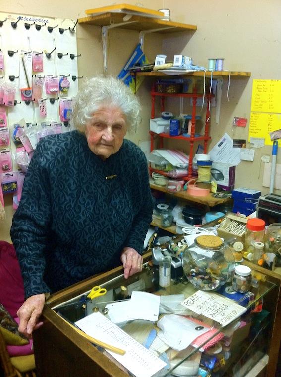 Mrs Morley, 99yrs & still running her haberdashery