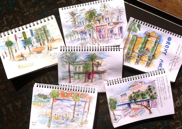 Thurs Aug 23. Manly Corso, our sketches