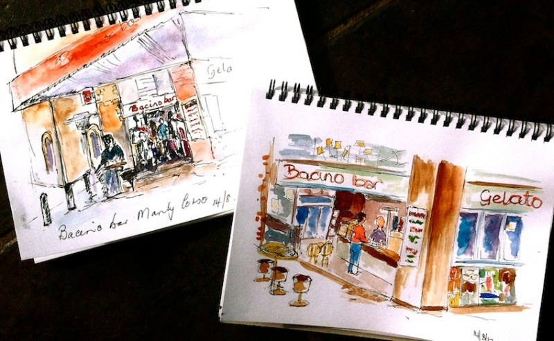Tues 14 August. Sketching on the Corso