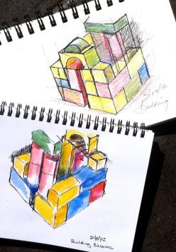 Tues Aug 21. Building block houses