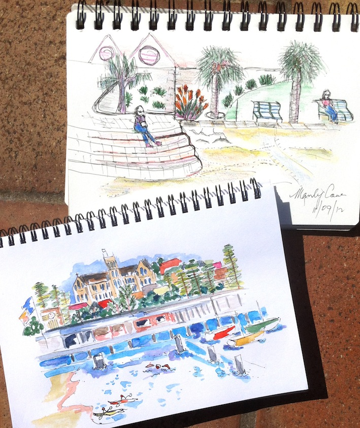 Tuesday Sept 11. Manly Cove sketches