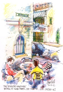 Sketching at Splendid Cafe, Agar Steps
