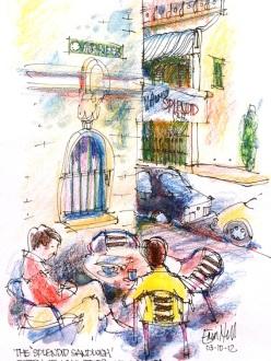 Sketching at Splendid Cafe, Agar Steps