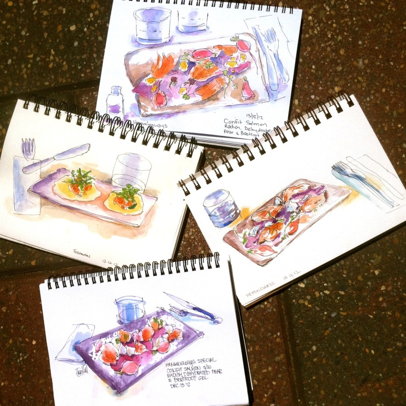 Sketching our lunch at Hemmingways Cafe.