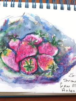 Strawberries sketched in Madrid. Therese.