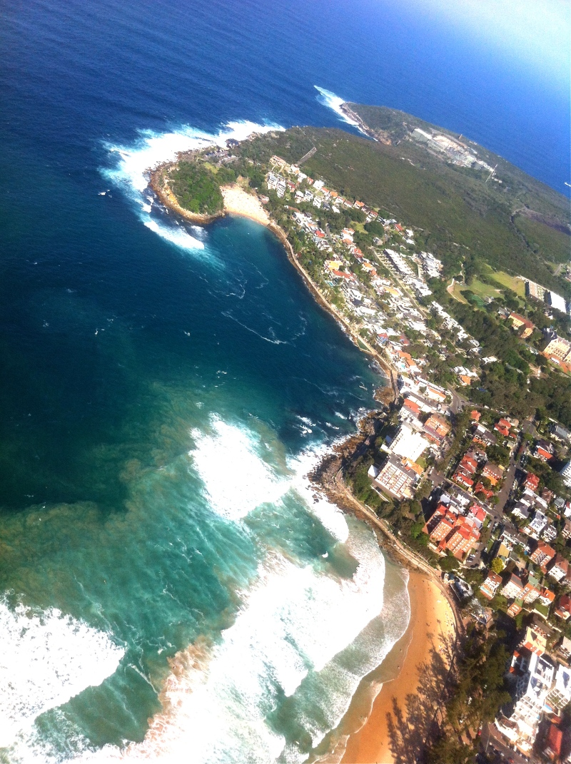 Flying down Manly Beach