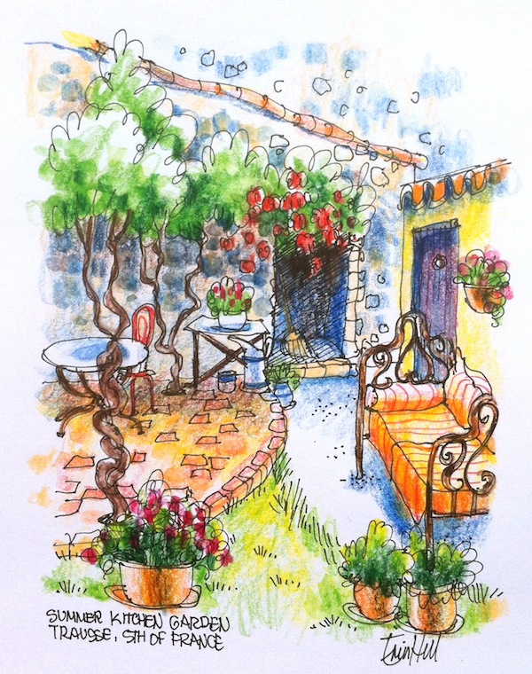 Summer Kitchen Garden in Watercolour pencil