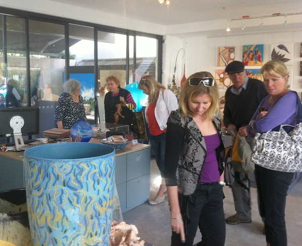 Checking out the small artworks at Raglan Gallery