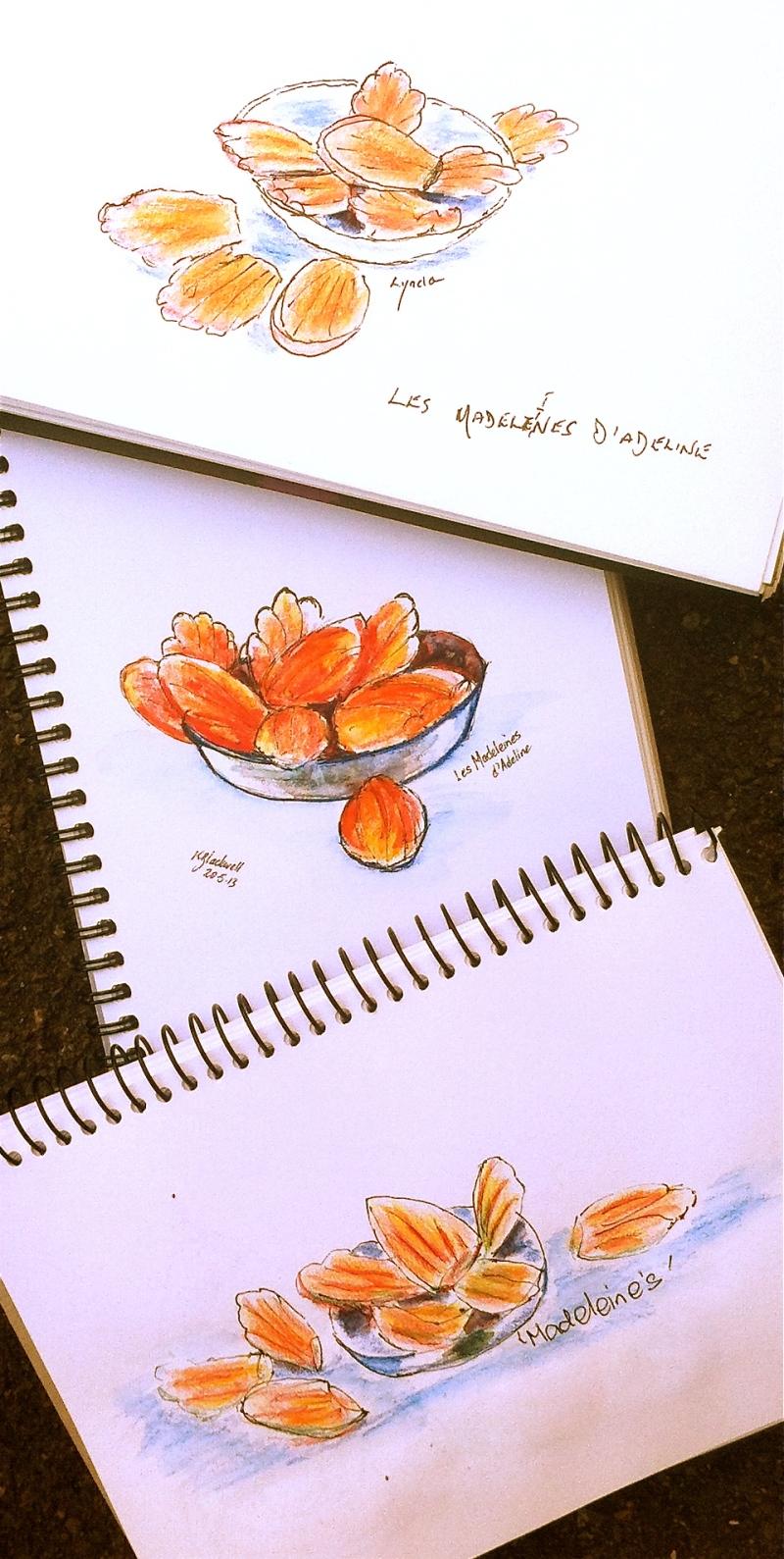 Freshly made Madeleines Sketched