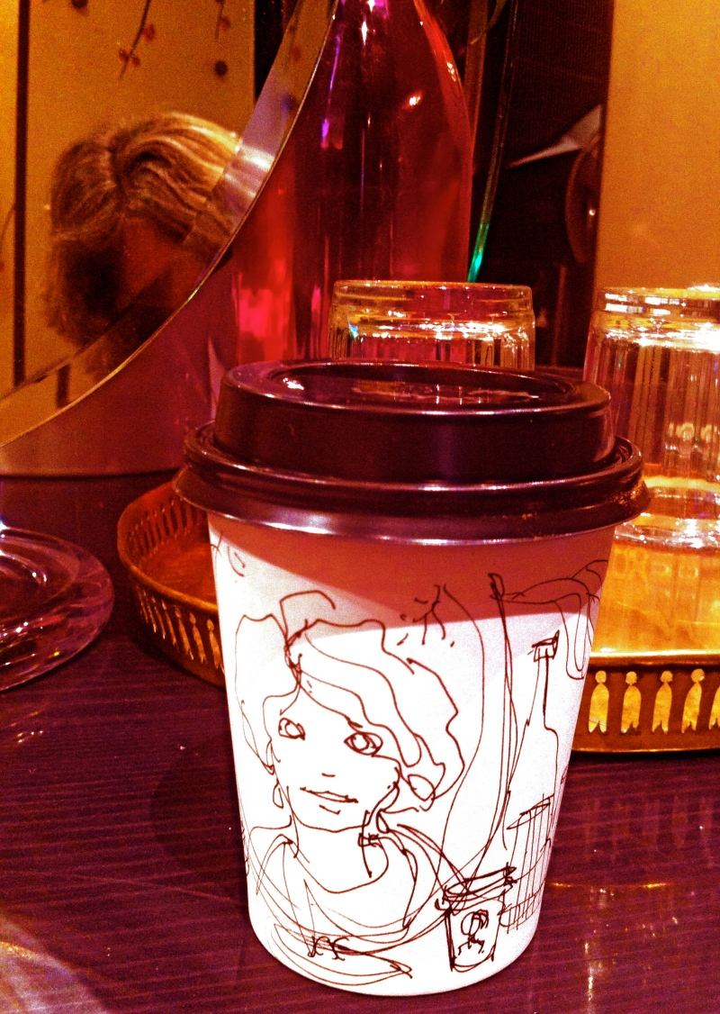 Sketch on blank coffee cup
