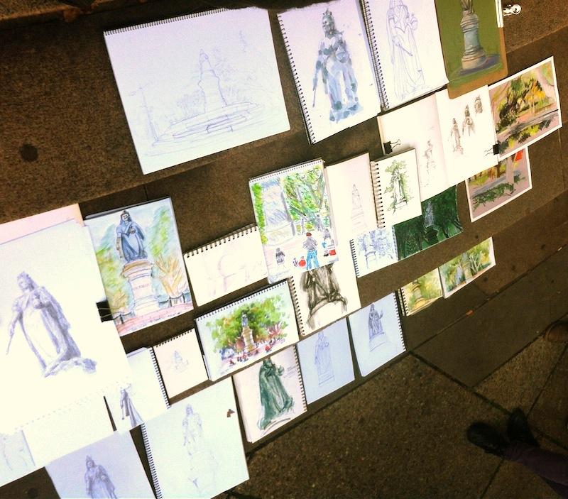 Sketchbooks on the steps