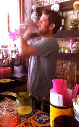 Sean shakes a tequila for Karen