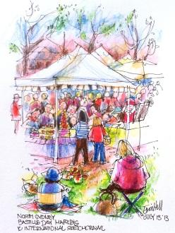 Sketchers at Bastille Day Markets.International Sketch Crawl.
