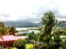 View from Temple to Savusavu boat harbour