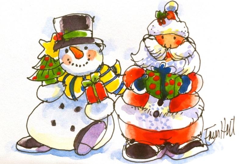 Santa & Snowman