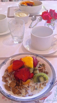 Fresh fruit & muesli breakfast. Havelock House