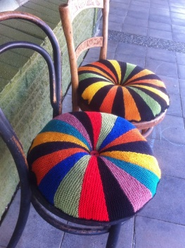 Knitted chair cushions