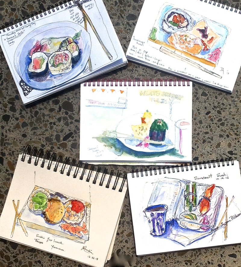 Sushi sketches ready to eat